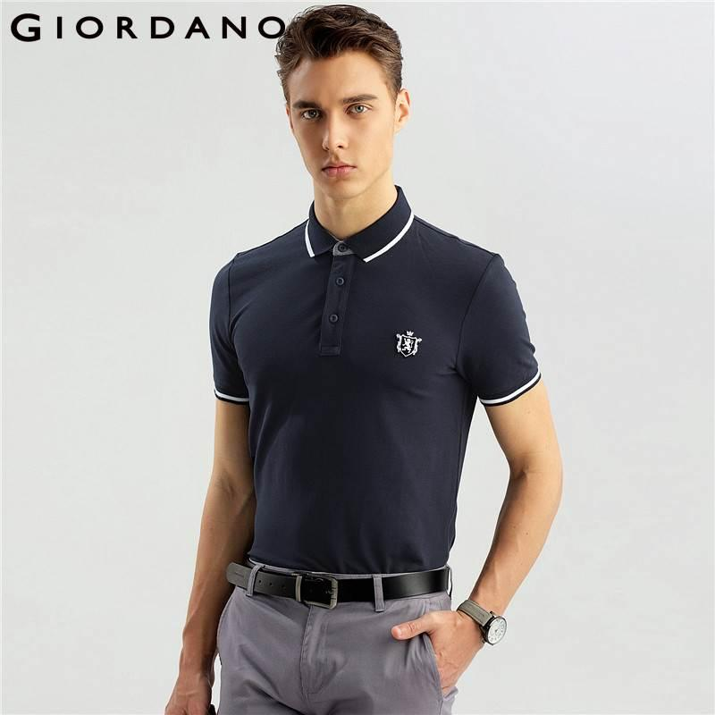 Мужские рубашки поло с короткими рукавами Giordano Рубашки поло с воротником в полоску с круглым вырезом Вышивка льва 3d Эластичный бренд Дизайнер одежды Поло
