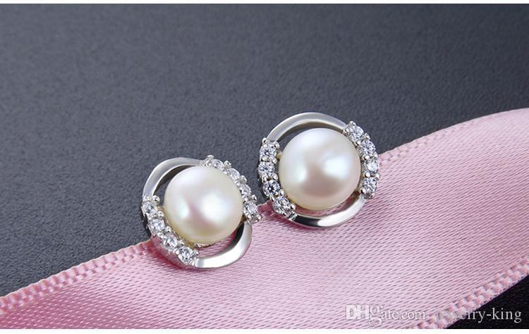 Mixte oder qualité supérieure femmes S925 perle d'eau douce argent des boucles d'oreille de perles d'argent sterling boucles d'oreilles CZ sivler perle CZ Boucle d'oreille DD