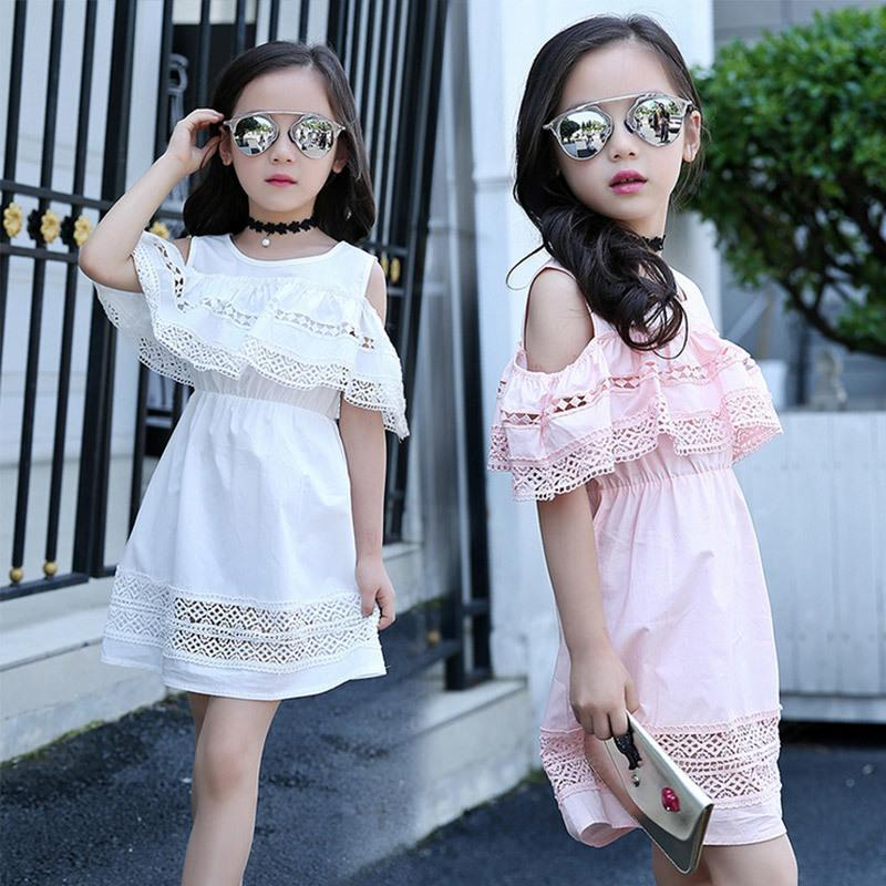 Baby Girl Dress 2017 Summer Children's Hollow Lace Princess Infantil Kids Party Dress Clothes For Girls 4 6 8 10 12 Years Old Y19061701