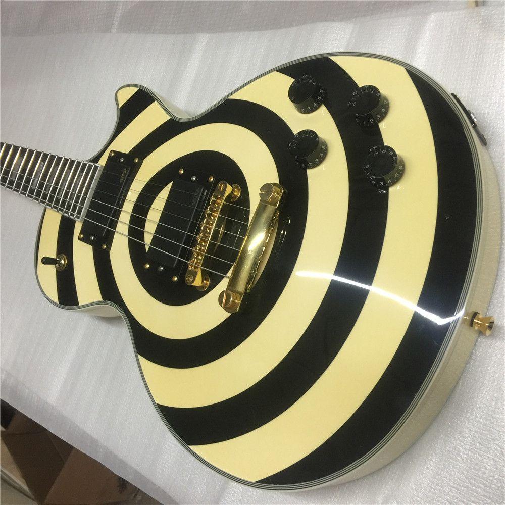 Free Shipping Custom Shop Zakk Wylde Black Twisted bullseye Yellow Electric Guitar Maple Neck & Fingerboard, White Pearl Block Inlay, Copy E