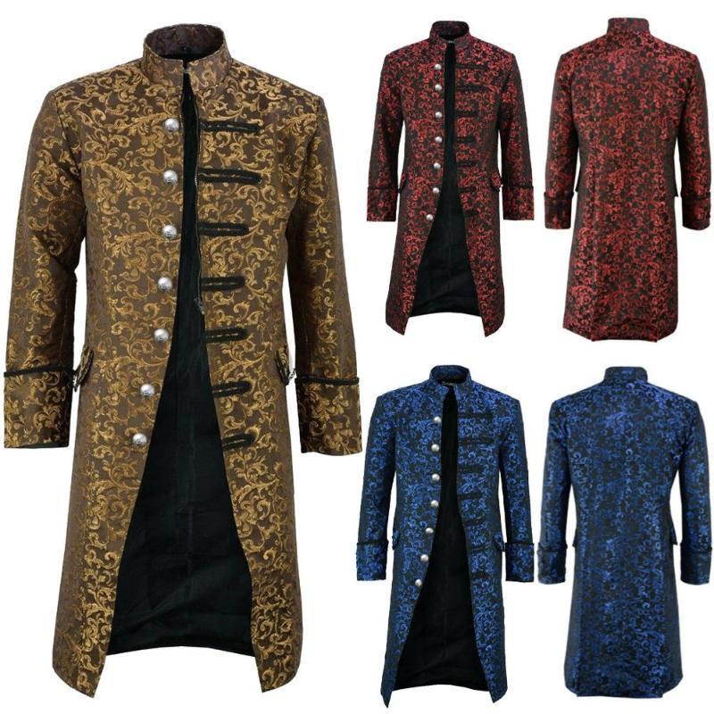 Hommes Bouton Mode Vintage Steampunk Veste gothique Frac Frock Uniforme Manteau 0125