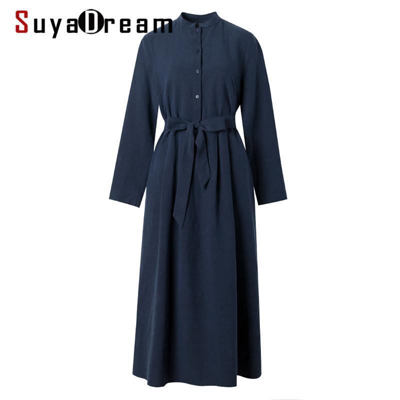 SuyaDream Mujeres sólido vestido de seda de seda del 50% al 50% del collar del soporte de algodón con cinturón vestidos largos 2019 Otoño Invierno