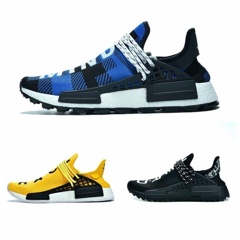 Pharrell Men Women Nmd Human Race Running Shoes Solar Pack Black