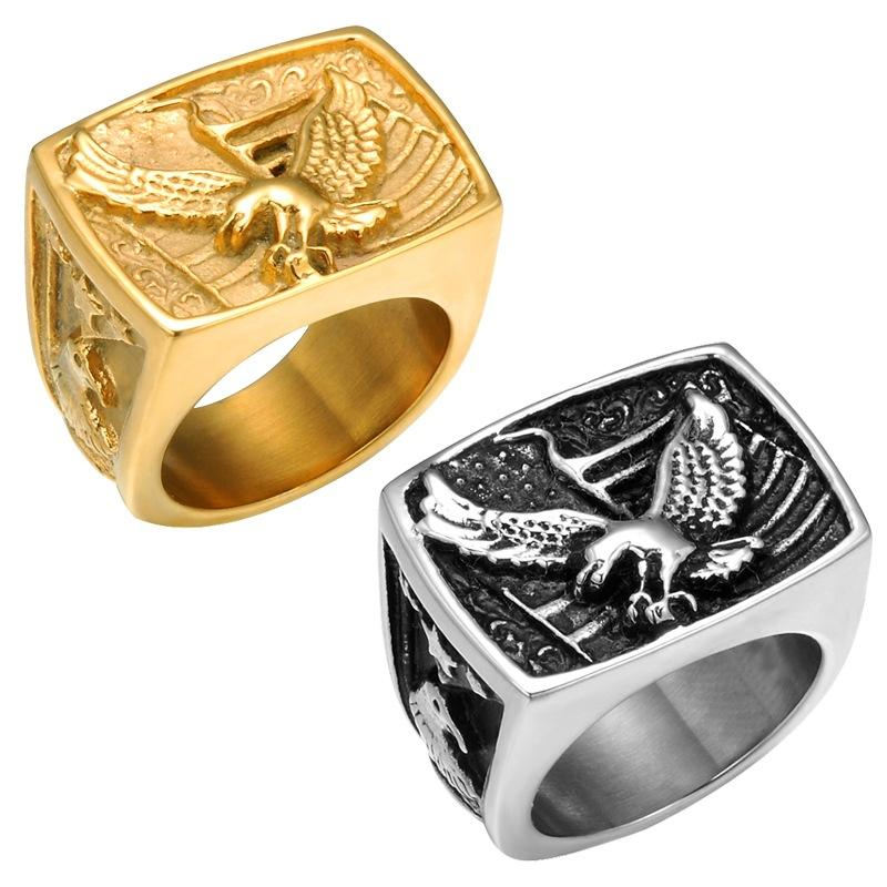 316L Stainless Steel US Military Punk Gothic Gold Silver National Bird Rings Of United States The Bald Eagle USA Rings Jewelry