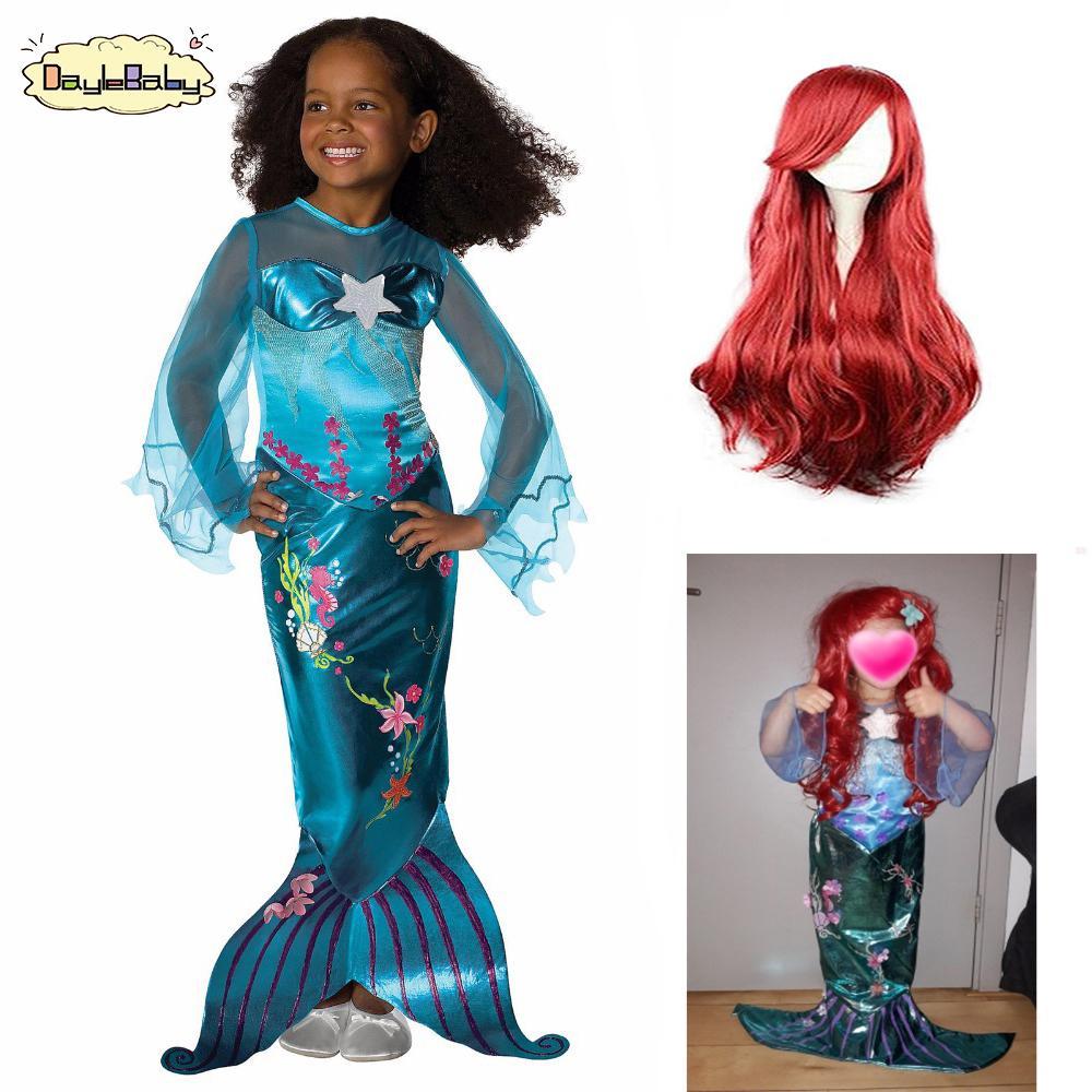 Daylebaby Girl Little Mermaid Dresses Mermaid Ariel With Pearl Wig Children Halloween Linda Cosplay Costumes For Kids Carnival Q190522