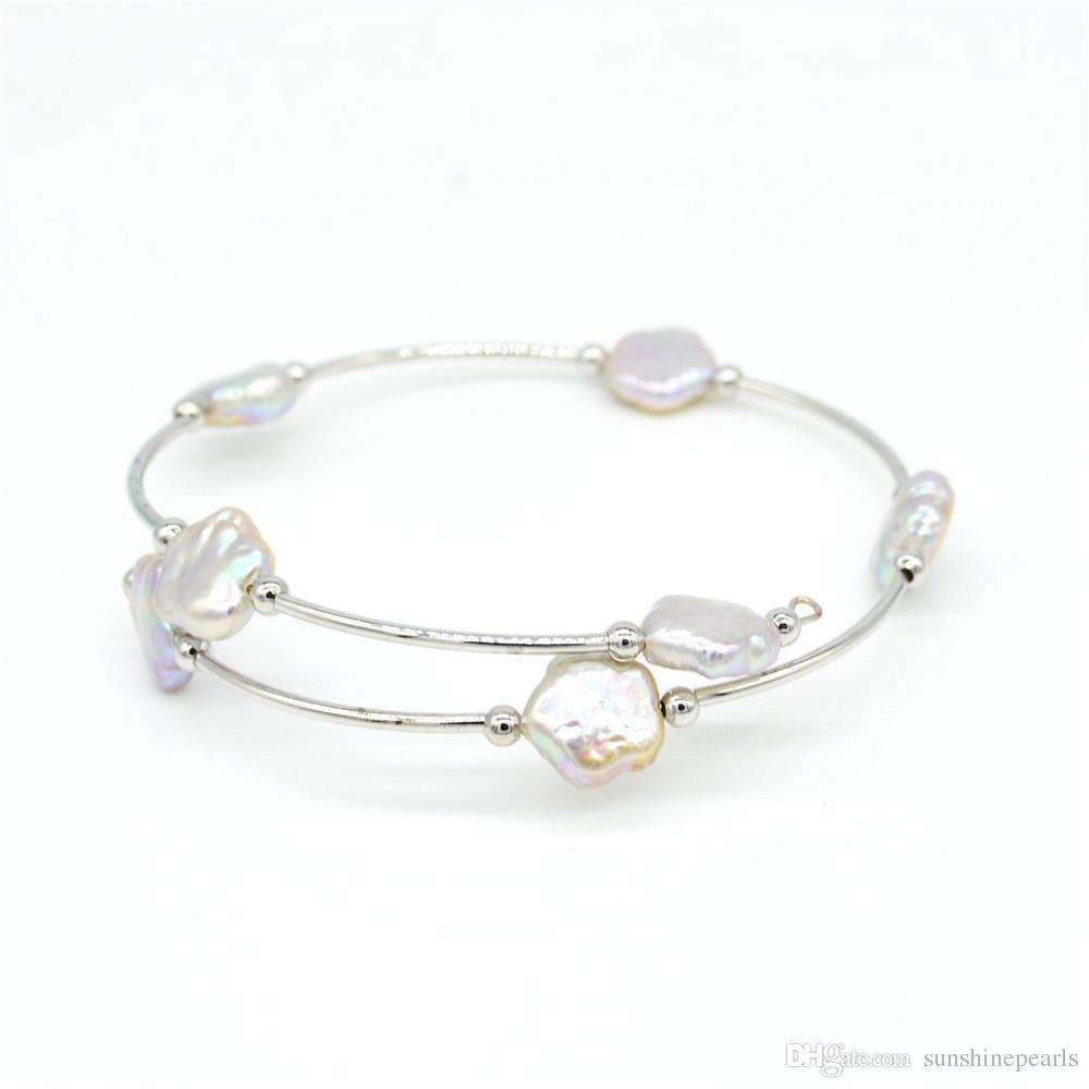 Única de alta calidad de la fábrica de perlas de agua dulce de flores directa brazalete encantos pulsera ajustable hecha a mano regalo libre de las mujeres