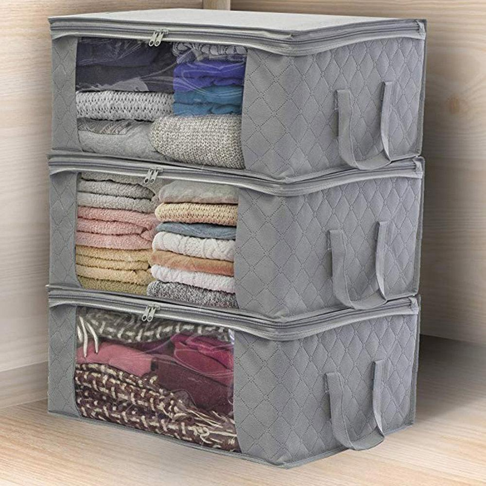 1/3Pcs Foldable Clothes Organizer Tidy Pouch Clothing Case Home Non-woven Storage Bag Clothing Storage Container