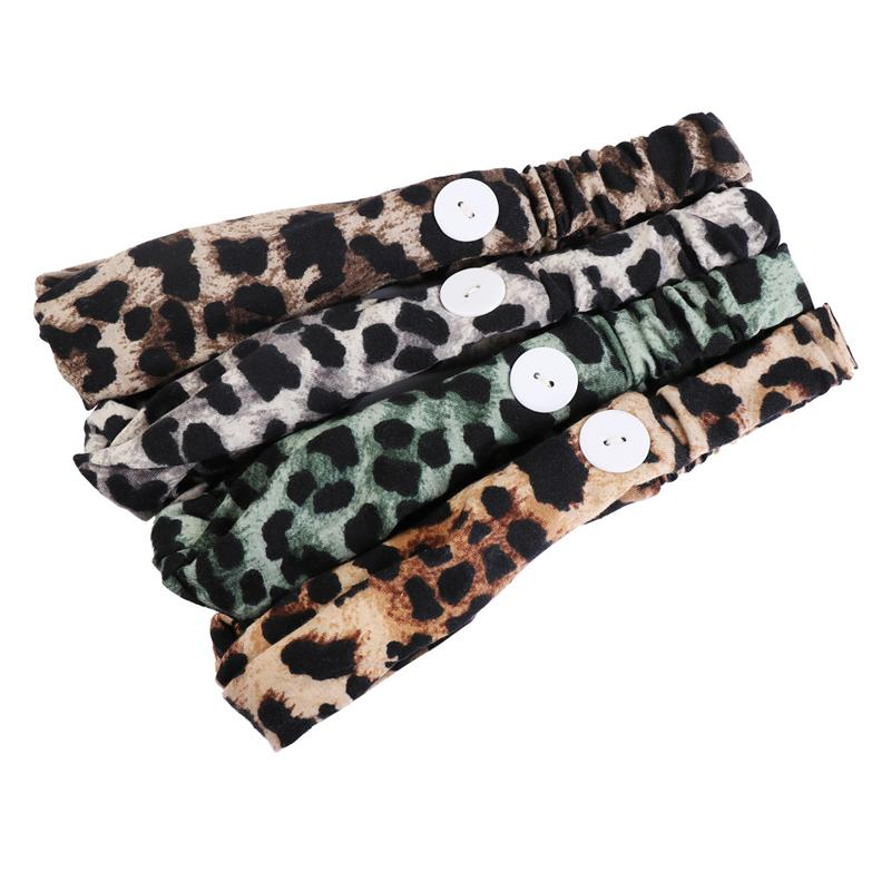 DHL Shipping Face Mask Headbands with Button Leopard Print Wide Turban Hairband Children Adult Women Elastic Hair Bands Accessories X158FZ
