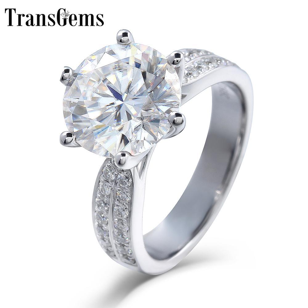 Transgems 2.5ct 8.5mm F Farbe Moissanite Engagement für Frauen massiv 14k 585 Weißgold Ring mit Akzenten in Band C19032501