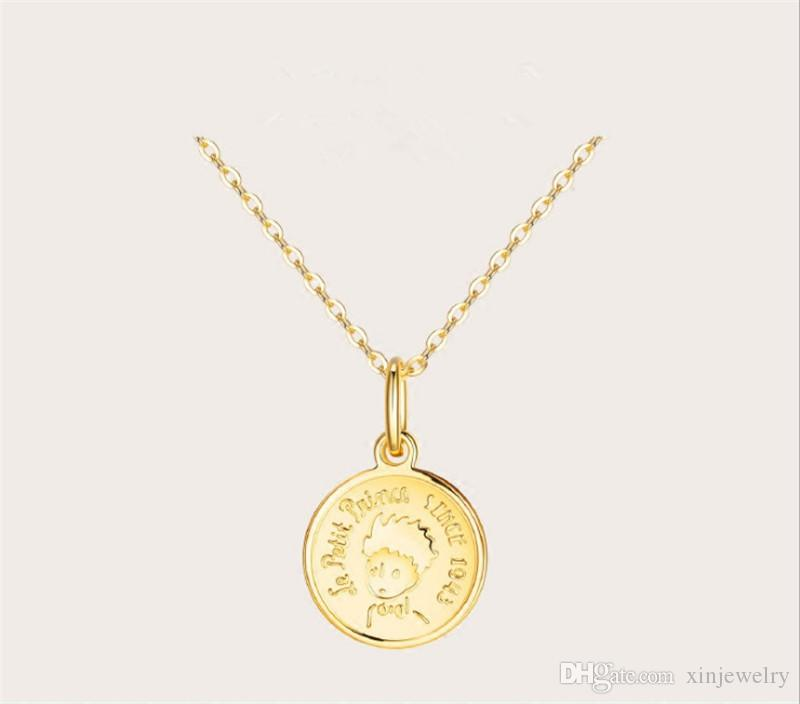 European and American Little Prince Classic Coin Commemorative Pendant Electroplated 18K Gold Avatar Pendant Fashion Unique Necklace
