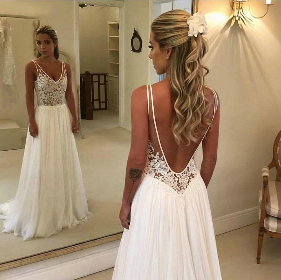 Großhandel Sexy Boho V Ausschnitt Bride Kleider Lang 18 Neue Chiffon  Backless Brautkleider Appliques Top Spitze Brautkleid Von Gracel, 18,18 €  Auf