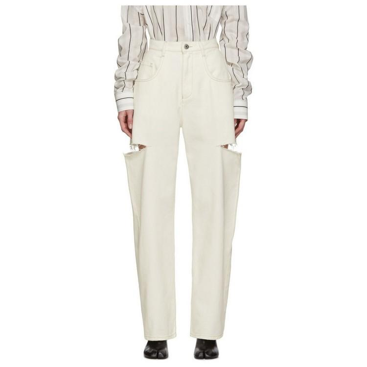 Ms niche designers cotton gray ripped jeans popular design wide-legged trousers slacks in spring and summer