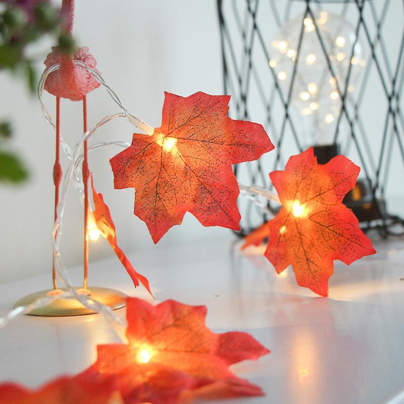 Maple Leaf Guirlande LED Maison de vacances Décoration Éclairage 1.5m 3m 6m alimenté par batterie Lampes LED USB avec télécommande IR Controller Pour Party