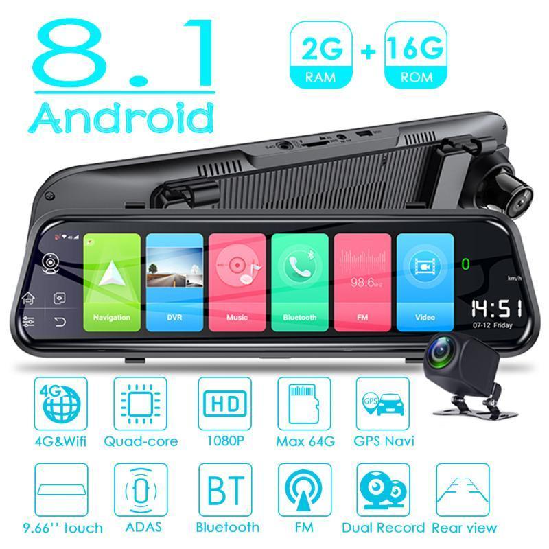 4G Android 8.1 automobile DVR retrovisore con ampio campo di applicazione Semplicità conveniente Specchio dash cam con telecamera posteriore