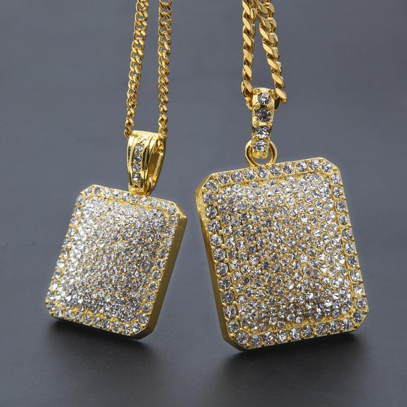 Mens Gold кубинский Link Chain Мода Хип-хоп Ювелирные изделия с полной Rhinestone Bling Bling Алмазная собак тегов Iced Out ожерелья подвеска