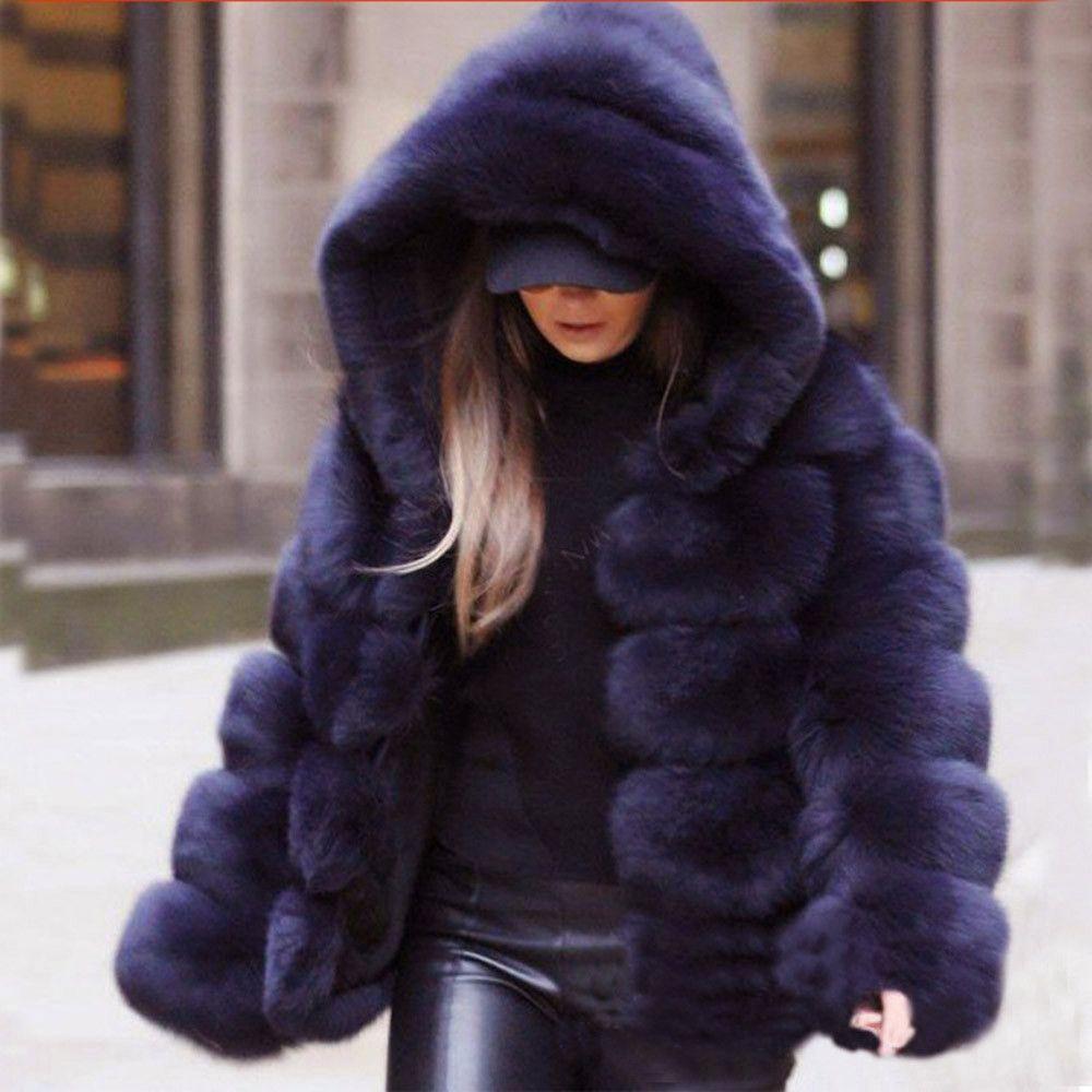 Chaqueta de imitación de las mujeres de piel caliente abrigos de invierno de visión de las mujeres invierno de los abrigos con capucha de la chaqueta Nueva gruesos calientes prendas de vestir exteriores