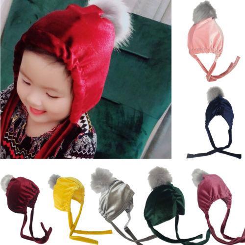 Sombrero de la Navidad Niño Lindo bebé de invierno de los niños GirlBoy infantil caliente de punto de ganchillo del casquillo del sombrero Beanie Nueva Pleuche Venonat con cordón