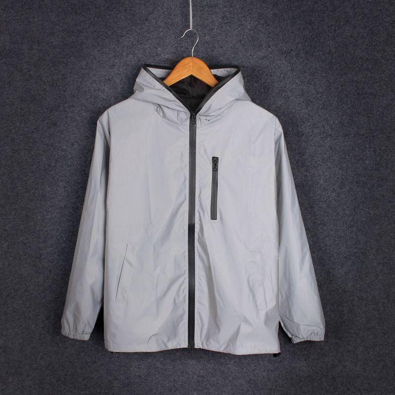 homens jaqueta Manga comprida reflexivos / mulheres Harajuku jaquetas blusão com capuz hip-hop streetwear noite brilhante zíper casacos