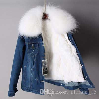 white raccoon fur collar women warm jackets white rabbit fur lining dark blue demin mini parkas