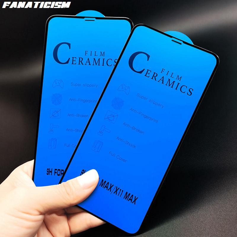 Soft completa Pegamento de la película para el iPhone XS MAX XR 8 7 6S Plus Cerámica Vidrio protector para el iPhone Pro 11 Pantalla de cristal Max