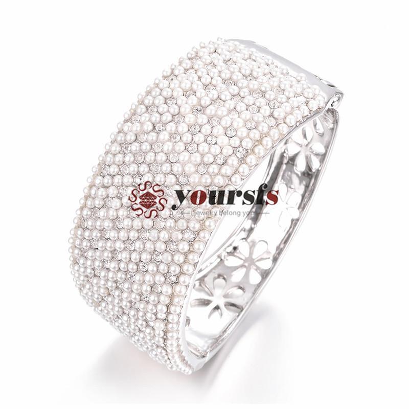 YourSFS Women Fashion Armband Mother Day Imitation Pearl Crystal Christmas Anniversary Gift