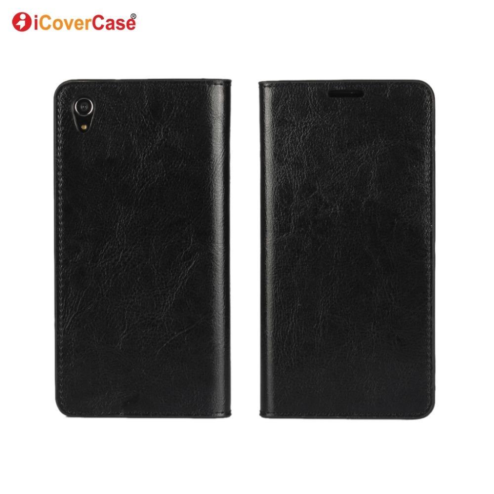 Luxo Real Genuine Carteira De Couro Para Sony Xperia Z3 Z5 Z5 Compact Slip Slot Para Cartão de Tampa Stand Protect Case para Z5 Premium