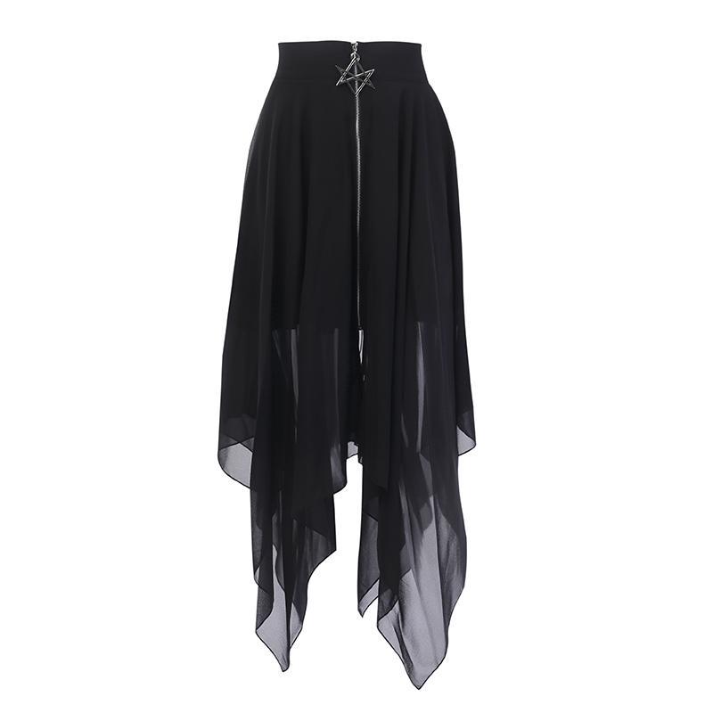 Summer Mesh Irregular Women Skirts Pentagram Zipper Black Punk Skirts Gothic Darkness Lady Skirt Casual Loose Streetwear Skirts T200106