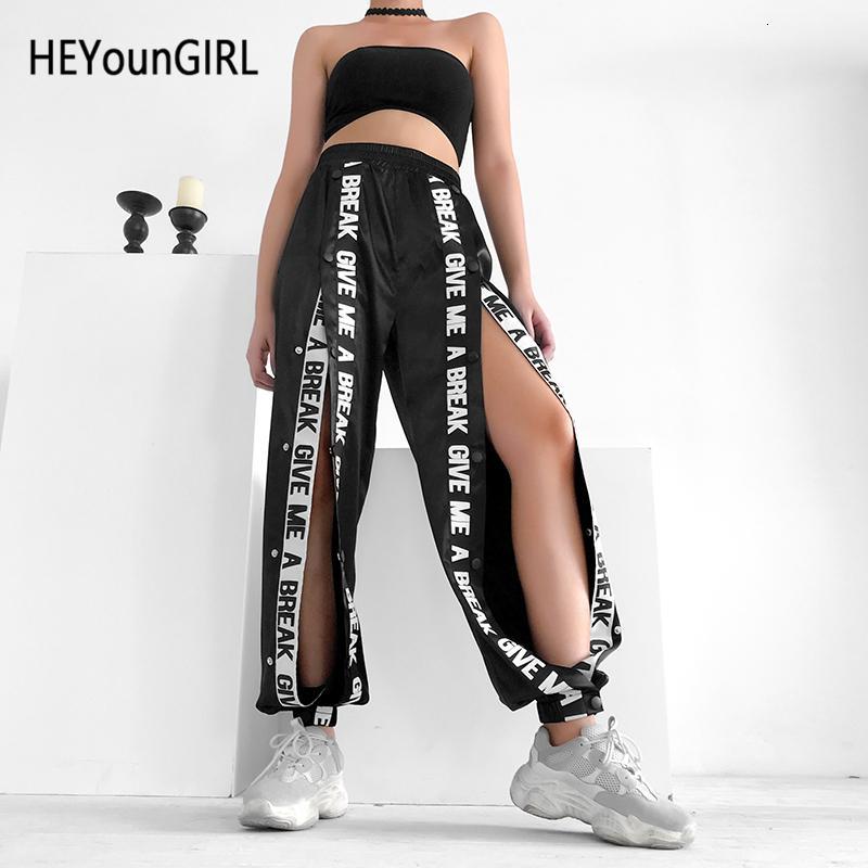 HEYounGIRL Split allentato casuale Capris Pantaloni neri a vita alta elastica Lettera Donne pantaloni della stampa di High Street Pantaloni felpa jogging LY191210