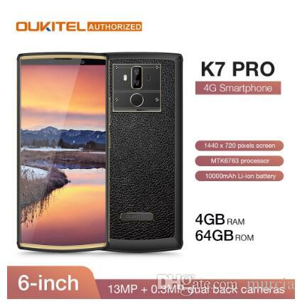 "OUKITEL K7 Pro 4G RAM 64G ROM Smartphone Android 9.0 MT6763 Octa core 6.0"" FHD + 18: 9 Phone Big Screen10000mAh impronte mobile"