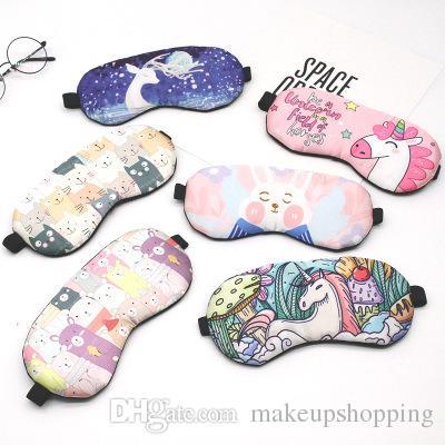 Фламинго Маски для сна Мультфильм Мягкая маска для глаз для девочек Дышащие затемненные тени Чехол Travel Relax Aid Blindfolds