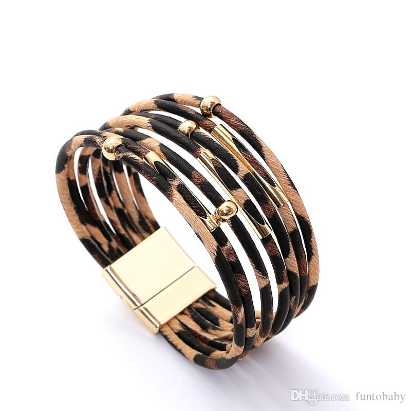 New Fashion Jewelry Women Leopard Bracelets Metal Pipe Charm Multilayer Wide Leather Wrap Bracelet Hot Sale