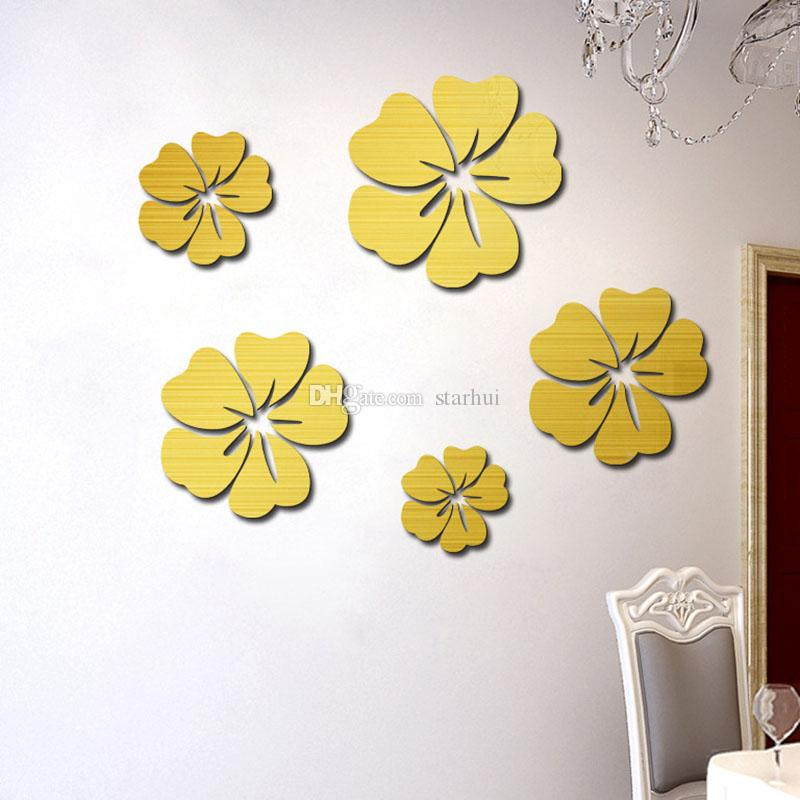 Europe stickers on the wall 3D Mirror Floral Art Removable Wall Sticker Acrylic Mural Decal home decor room decoration droship DHL WX9-1876