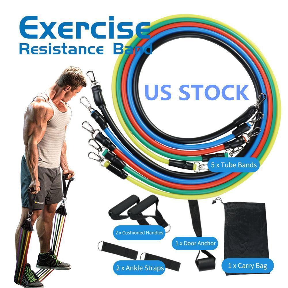 США Stock 11pcs / набор тросового Фитнес упражнение Сопротивления Группа Латекс Труба Педаль Excerciser Обучение тренировка тело Упругой Йога Band