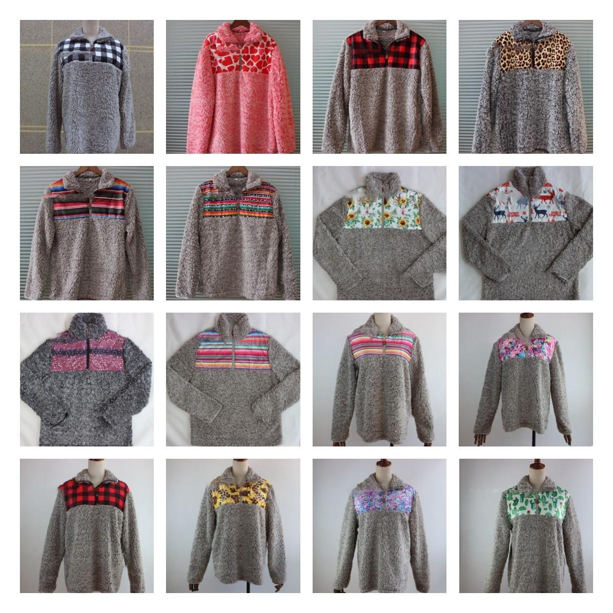 21 conception Sherpa hoodies Hiver Femmes Sherpa Doux Pull Pull Outwear Manteau Pulls Chaud Tops Patchwork Chandails LJJK1836