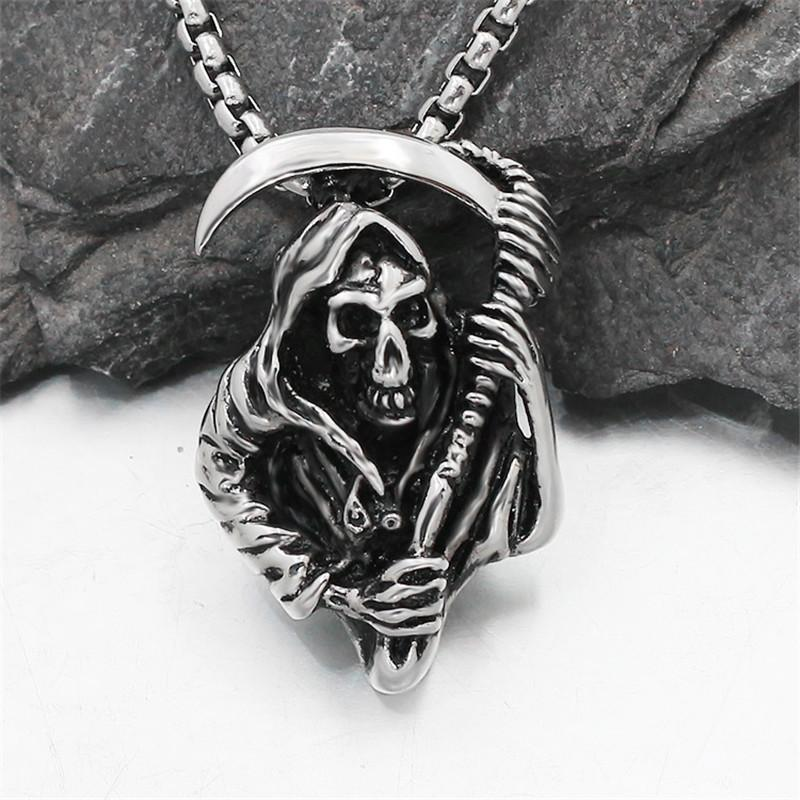 Grim Reaper Necklaces Hip Hop Street Dance Men's Pendants Outdoor Nightclub Party Hipster Must Accessories Free Shipping