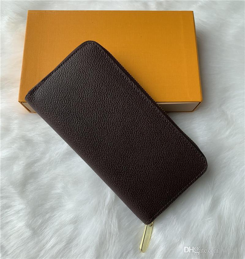 오렌지 박스 카드 카드 소지자 60,017 LB82 클래식 지갑 패션 하나의 지퍼 남성 여성 가죽 지갑 숙녀 숙녀 긴 지갑