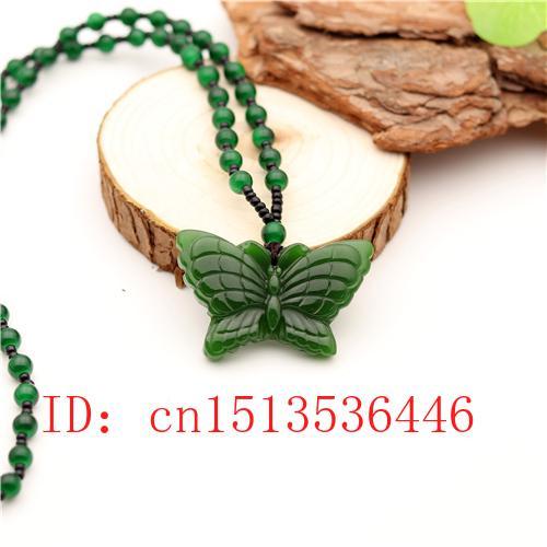 Geschnitzt Schmetterling Jade-Anhänger natürliche chinesischer Grün-Korn-Halsketten-Charme Jadeit Schmuck-Mode-Glücksamulett Geschenke für Frauen