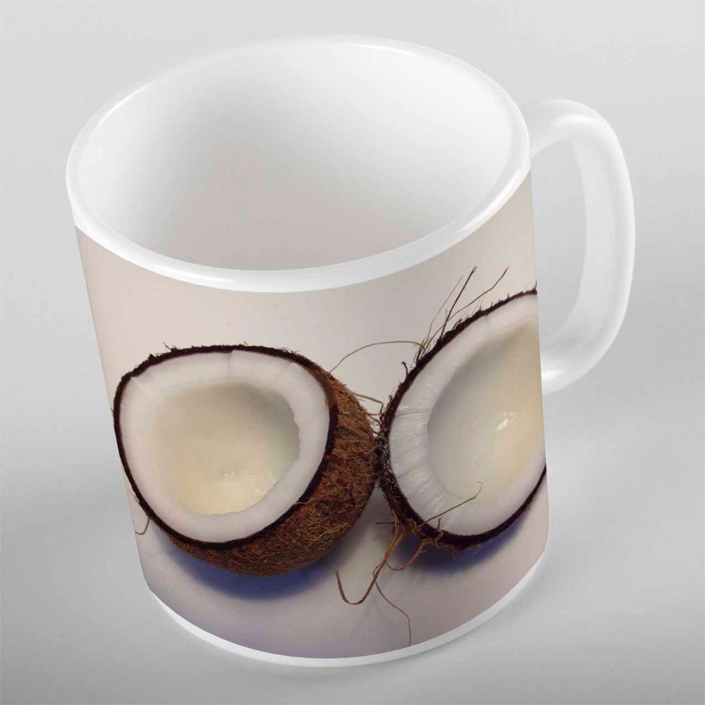 Tazas más frutas tropicales La mitad de los cocos blancos marrones del regalo 3D de la impresión de la impresión del oso de la taza de la taza de café de la taza de café