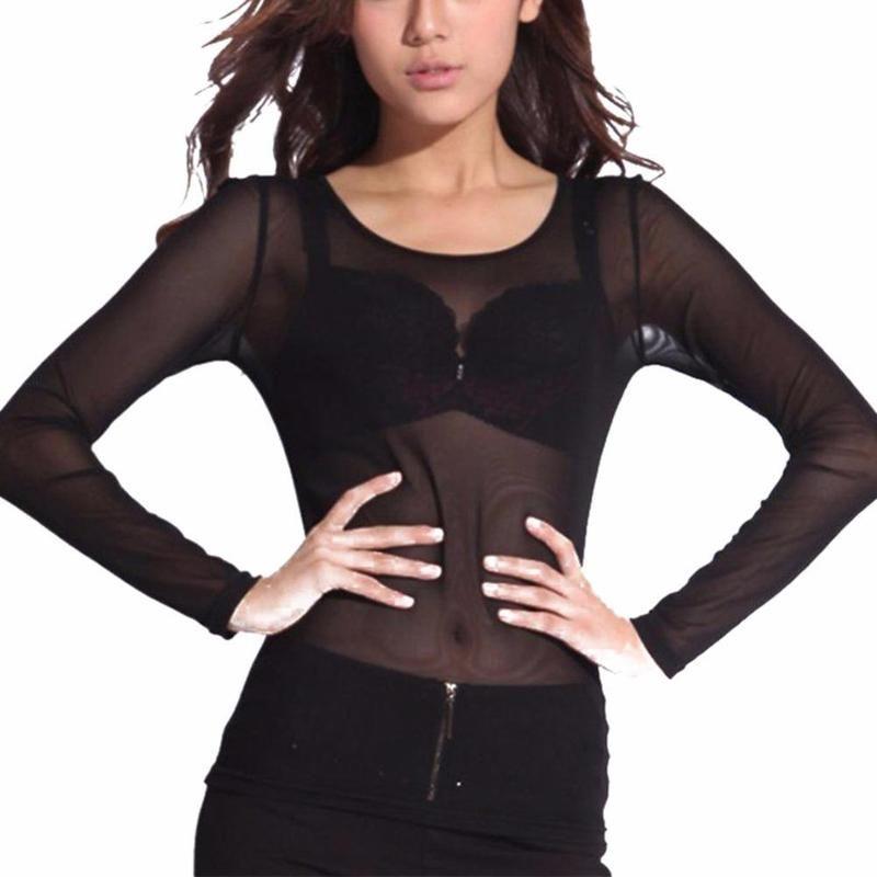 Summer Sexy Women Mesh Net shirt O-cuello Long Sleeve Tee Tops Transparent Elastic Womens Tops and Blusas Blusas Mujer De Moda
