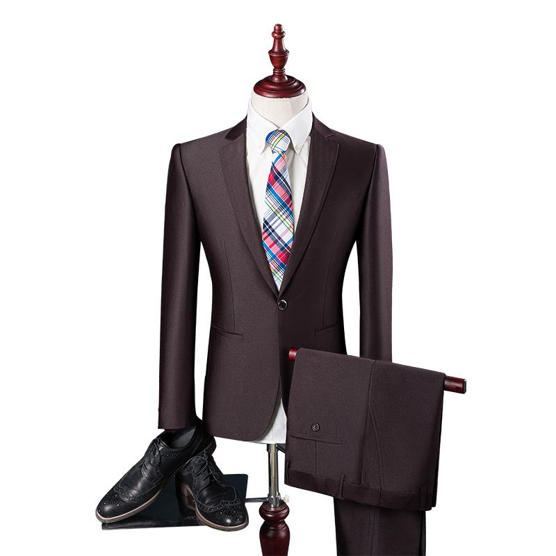 Pure color fashion men's high-end suit jacket & pants S-4XL slim fit men business banquet wedding dress suits can be worn all year round
