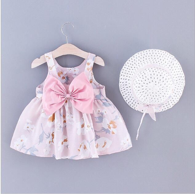 2020 vestiti best-seller estate i vestiti delle ragazze dei bambini dolce floreale Little Daisy indietro piegano con gonna cappuccio per bambini