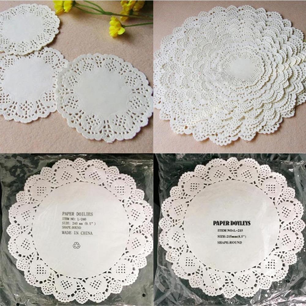 80Pcs/lot Cute Round Lace Paper Doilies Craft Cake Placemat Wedding Birthday Prom Party DIY Decoration Mats Pads