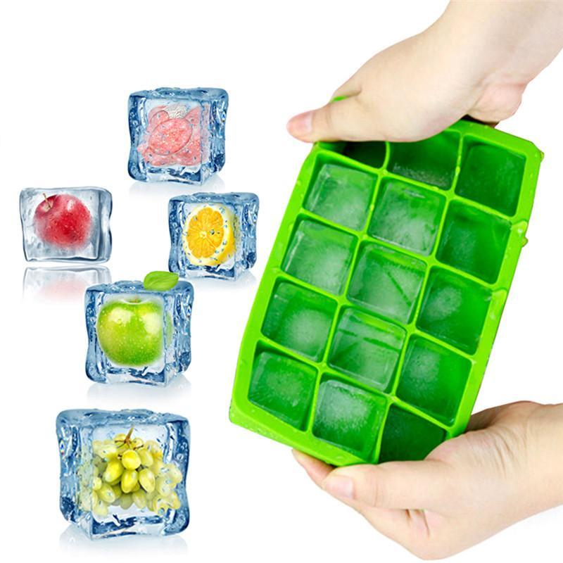 DIY gelo Fruit Cube Mold 15 Buraco Silicone Ice Mold Verão Fruit Ice Cream Mold Ice Cube Maker para Wine Whiskey