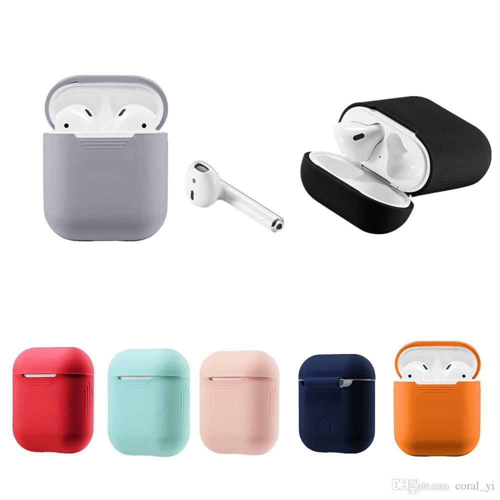 Funda suave de silicona para Airpods Estuches para audífonos inalámbricos Bluetooth Cubierta Accesorios de piel para vainas Apple Air Protector de la caja de carga