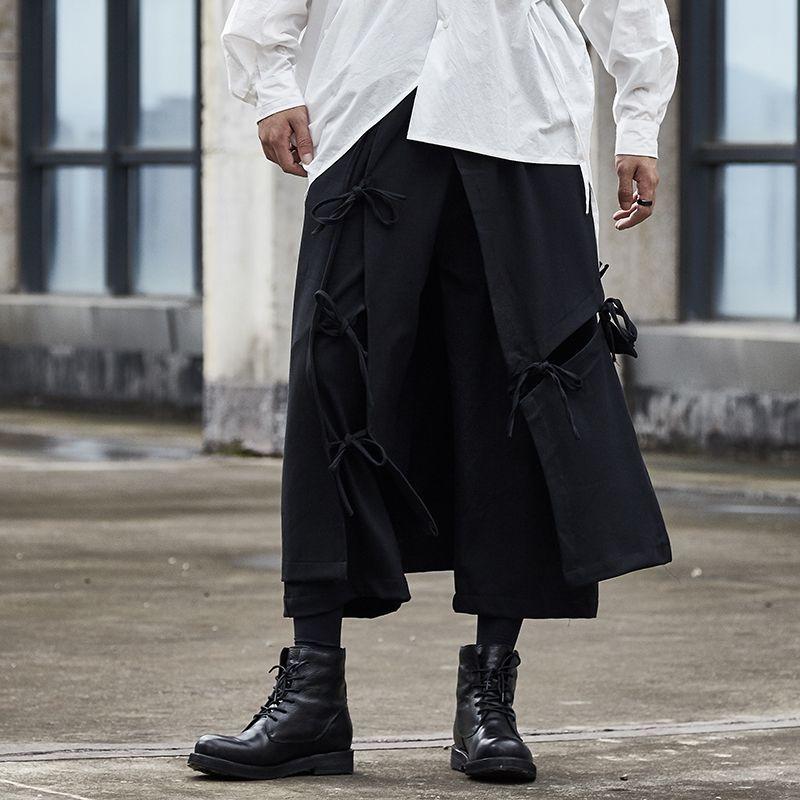 La cinta de empalme hombres ocasionales flojas Negro pierna ancha Pan Masculino Japón Streetwear Hip Hop punk gótico Harem Pantalones kimono Falda Pantalón