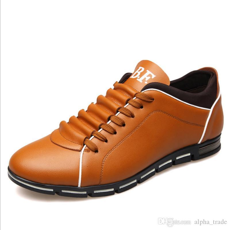 2020 Chaussures Hommes Casual Flats Lace Up Gentlemans Chaussures confortables Marque Chaussures de marche Plus Size 38-48 Schuhe Herren