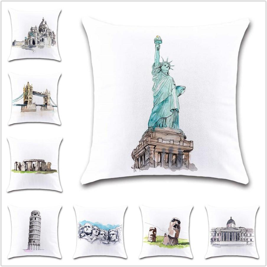 Famous building painting pyramid Cushion Cover Decoration Home sofa chair car seat Decor friend kids bedroom gift pillowcase