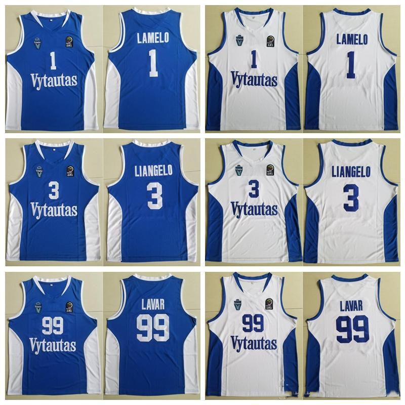 jersey Lituania Vytautas Prienu Baloncesto Uniformes 1 LaMelo Ball 3 LiAngelo bola 99 camisas LaVar bola Men equipo azul blanca cosida