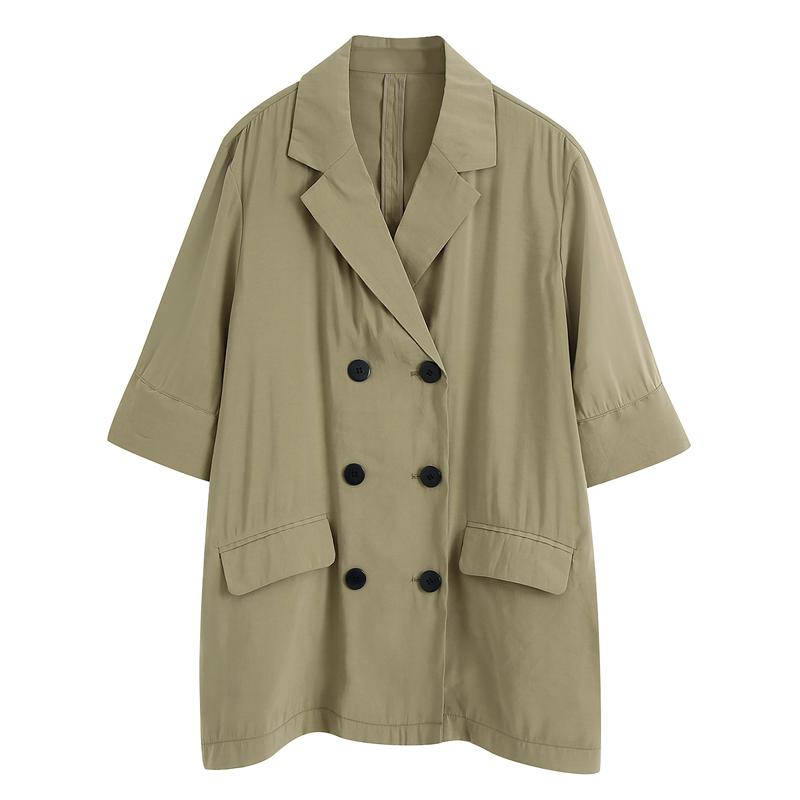 Hadara informal con muesca chaquetas Mujeres sólido de la manera Triple Breasted mujeres de las chaquetas elegante flojo media manga de los trajes de las señoras femeninas