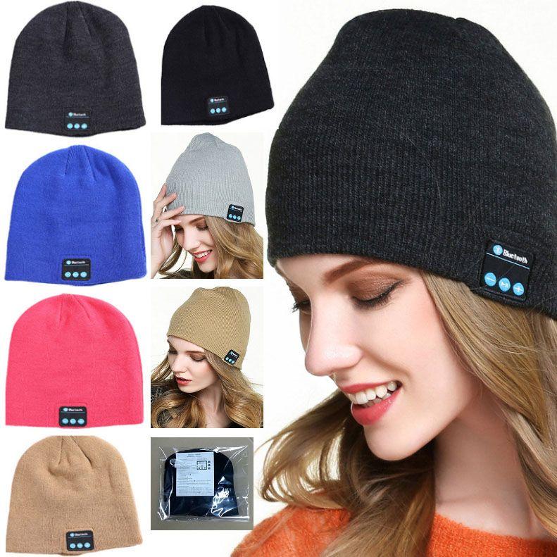 Knit Beanie Cap 11 Colors Bluetooth Stereo Hat Wireless Earphone Handset Headphone Xmas party Hats JJ19859